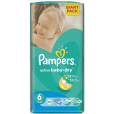 PAMPERS Plienky Active Baby 6 EXTRA LARGE 56ks /15+ kg/ GIANT PACK