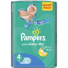 PAMPERS Plienky Active Baby 4 MAXI 76ks /7-14kg/ GIANT PACK